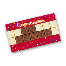 chocotelegram 14 blokjes in geschenkdoos congratulations